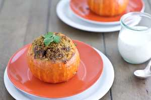 ground lamb stuffed pumpkin