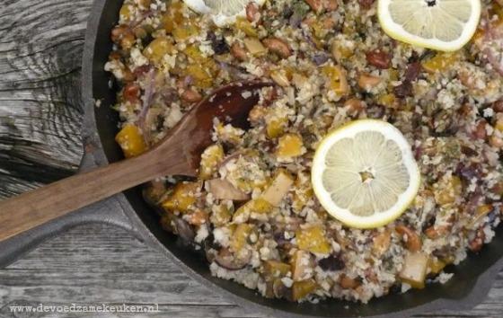 Zogenaamde Couscous van Bloemkool met Pompoen en Cashewnoten {veganistisch en graanvrij}