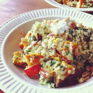quinoa risotto met spinazie en pompoen