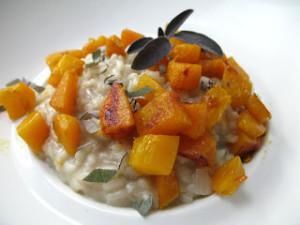 Risotto met pompoen, gorgonzola en salie