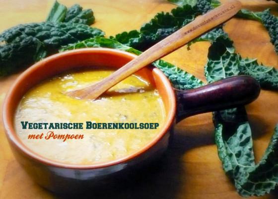 vegetarische boerenkoolsoep met pompoen