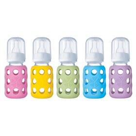 Glazen babyfles met siliconen buitenkant, dus zonder BPA