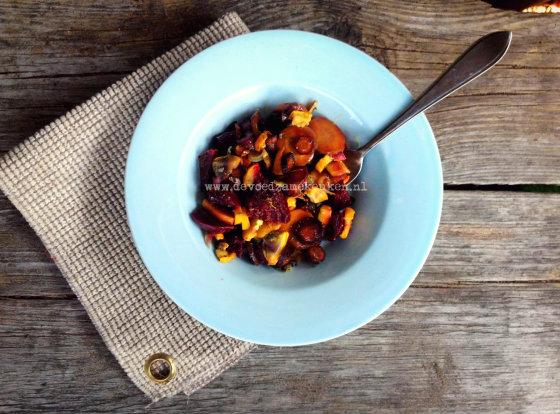 Salade met in de oven geroosterde groenten – Receptenruil